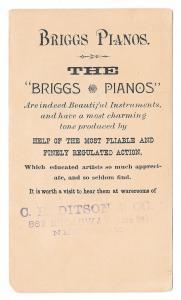 1909 Victorian Trade Card Briggs Pianos Boston MA Pretty Girl Snowballs Winter