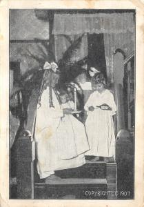 Girls on Victorian Staircase take Their Night Medicine~Doll~Candlestick~1907 B&W