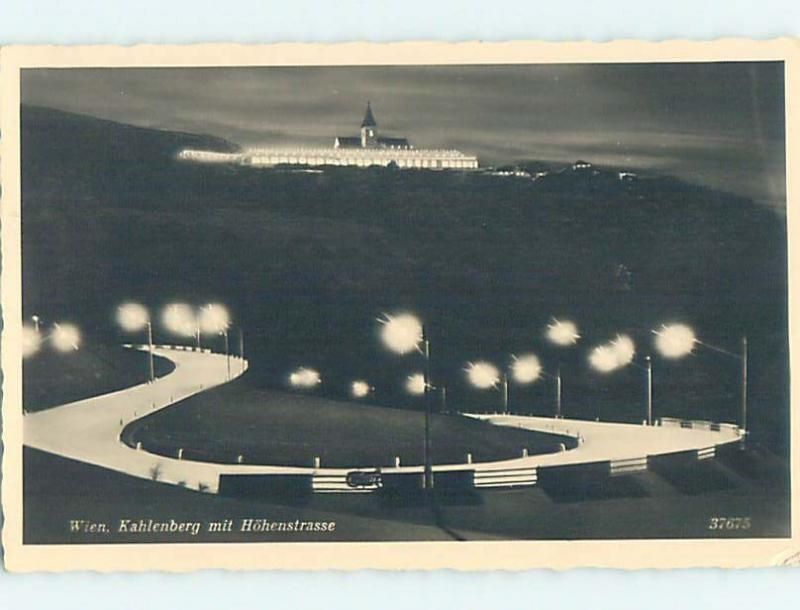 old rppc STREET LIT UP AT NIGHT Kahlenberg - Vienna Woods Austria HM1582