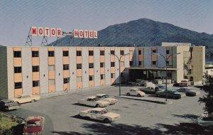 PRINCE RUPERT, British Columbia, Canada, 1960s; Crest Motor Hotel, Classic Cars