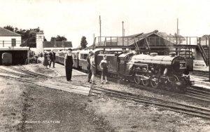 Romney Railway Train Station Platform Dungarees Children Real Photo Postcard