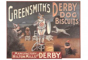 Greensmith's Derby Dog Biscuits Clowns Circus Poster Ad c1980s REPRO Postcard