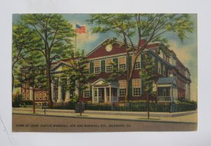 Home of Chief Justice Marshall in Richmond VIRGINIA Vintage Linen Postcard
