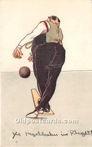 Old Vintage Bowling Postcard Post Card Bent lower left corner