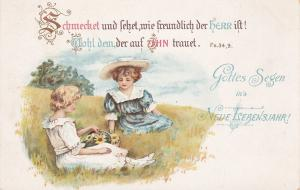 PU-1912; Two Little Girls Sitting On A Hill, Gottes Segen In's Neue Lebensjahr