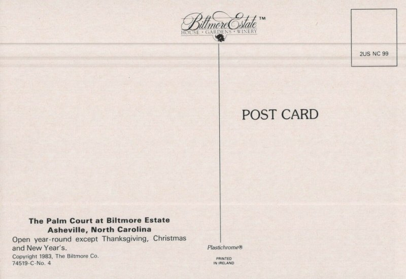 BILTMORE ESTATE The Palm Court Asheville, Postcard unused