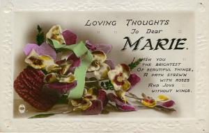 MARIE Large Letter Name~Colorized Real Photo~GEL Purple/White Pansies~Mint Ribbn