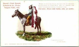 1902 Niagara Falls, NY Advertising Postcard QUEEN'S PARK BAZAAR Indian on Horse