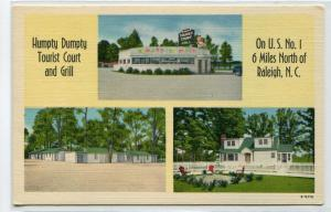 Humpty Dumpty Grill Tourist Court Motel Raleigh North Carolina linen postcard