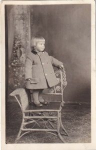 RP: Portrait of Cute Blond Toddler standing on chair, 1910-20s