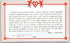 1938 Mutoscope / Exhibit Supply Arcade Card Romance Comic MRS. I NECKEM Unused