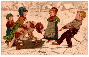 Dog , Dutch children pulling sled with dog