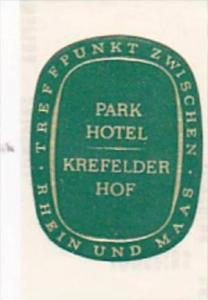 GERMANY KREFELD PARK HOTEL KREFELDER HOF VINTAGE LUGGAGE LABEL