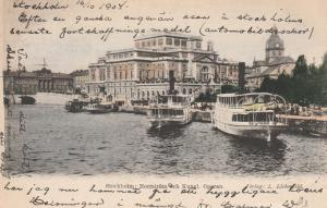 Royal Opera House on Norrstrom River - Stockholm, Sweden - pm 1904 - UDB