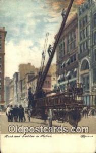 Hook & Ladder in Action  Postcard Post Cards Old Vintage Antique Postcard, Po...