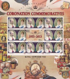 King Edward VII St Helena Royal Coronation Rare Mint Stamp Block Sheet