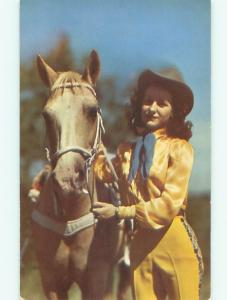 1960's Western COWGIRL WOMAN WITH HER HORSE AC6413