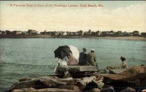 York Beach ME Sitting Under Umbrellas on Rocks c1910 Postcard