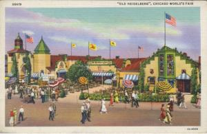 Chicago World's Fair ~ 'Old Heidelberg' Restaurant ~ Vintage Linen Postcard