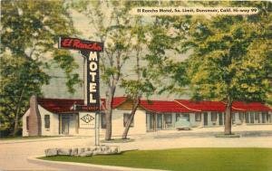 Linen Roadside Postcard; El Rancho Motel Dunsmuir CA Hwy 99 Siskiyou County