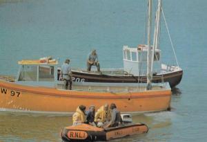 Port Isaac Fishermen Lifeboat Life Savers Grovery Drug Store Postcard