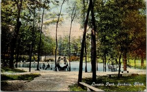 Jackson Michigan~Loomis Park~Lawn Swings on Pond~Men Wave From Bench~1914