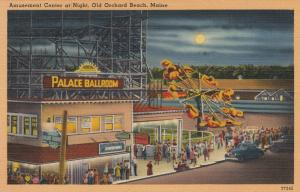 OLD ORCHARD BEACH , Maine , 1930-40s ; Amusement Center at Night