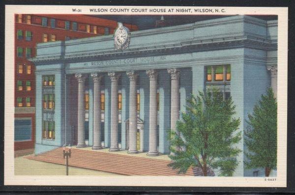 North Carolina colour PC Wilson County Court House at Night Wilson unused