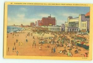 Atlantic City, NJ Convention Hall and Beach Front Hotels Linen Postcard