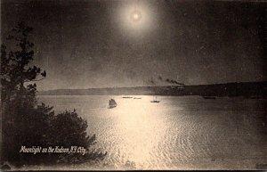 New York Moonlight On The Hudson River Rotograph