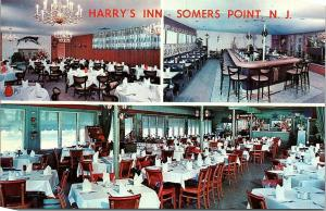 Postcard NJ Somers Point Multiview Interior Harry's Inn B9