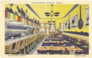 Glorifried Ham N Eggs Miami Beach Florida 1947 linen postcard