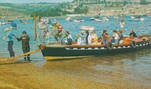 Devon Shaldon Ferry Guard Alighting Passengers 1970s Postcard