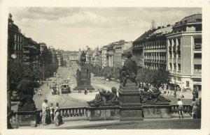 Postcard Wenceslas Square Prague Czech Republic equestrian statue monument