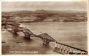 Scotland Forth Bridge From the Air Real Photo 03.90