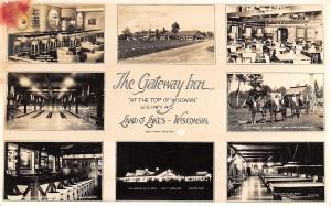 Land O Lakes WI~Gateway Inn~Multi Mini View~Bowling Alley~Billiards~1940s RPPC