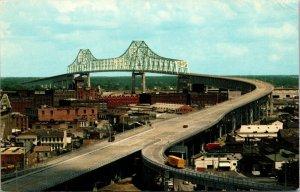 Greater New Orleans Bridge, Mississippi River, Louisiana Vintage CHROME Postcard