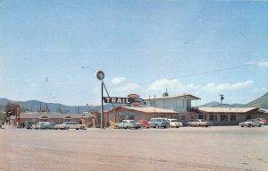 Soda Springs Idaho birds eye view Trail Motel & Coffee Shop vintage pc ZE686118