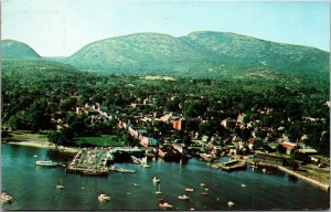 Postcard ME Maine View - Bar Harbor NEW ENGLAND CHROME VINTAGE  AERIAL