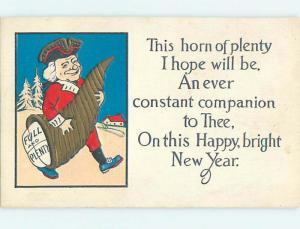 Pre-Linen new year MAN HOLDING VERY LARGE HORN OF PLENTY HQ7947