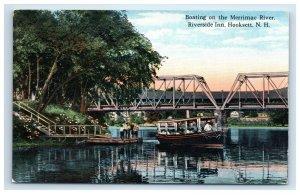 Hooksett NH Boating on the Merrimac River Postcard Riverside Inn Bridge
