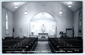 RPPC  OCONTO, Wisconsin WI ~ Interior FIRST AMERICAN LUTHERAN CHURCH Postcard
