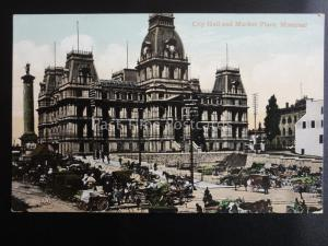 Canada MONTREAL City Hall & Market Place c1904 - Old Postcard