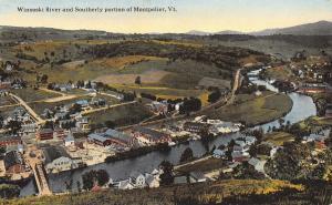 Montpelier Vermont~Birdseye Thru Truss & RR Bridge over Winooski River~City~1910