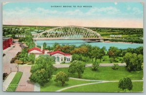 Utah~Gateway To Old Mexico~Bridge Aerial View~1940s Linen Postcard