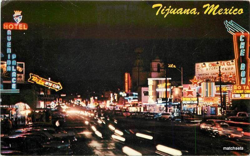 1960's Night Neon TIJUANA MEXICO Postcard 16816