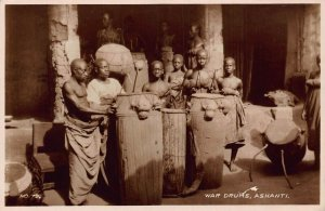Ghana Gold Coast War Drums Ashanti natives Postcard