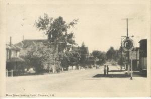 Main Street, Chipman New Brunswick ~ Red Indian Gasoline Sign Vintage Postcard