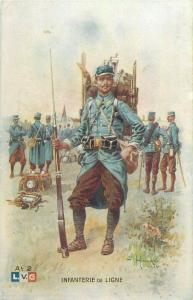 War 1914-18 L.V.C. French Army Infantry Line Illustrator Léon Hingre postcard