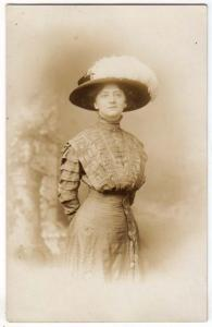 RPPC - Woman Fancy Dress and Big Hat